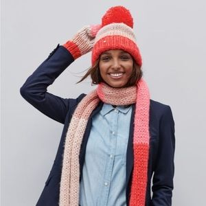Kate Spade Hand Knit Colorblock Pom Beanie Coral